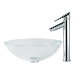 Kraus - Kraus C-GV-100-12mm-1800CH Crystal Clear Glass Vessel Sink and Decus Faucet - Add a touch of elegance to your bathroom with a glass sink combo from Kraus