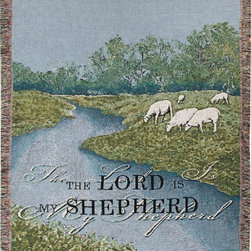 Manual - The Lord Is My Shepherd Psalm 23 Print Tapestry Blanket 50 Inch x 60 Inch - This multicolored woven tapestry throw blanket is a wonderful addition to any home. Made of cotton, the blanket measures 50 inches wide, 60 inches long, and has approximately 1 1/2 inches of fringe around the border. The blanket features a lambs grazing at the edge of a stream. The words 'The Lord Is My Shepherd' are printed at the bottom. Care instructions are to machine wash in cold water on a delicate cycle, tumble dry on low heat, wash with dark colors separately, and do not bleach. This comfy blanket makes a great gift for friends and family.