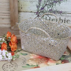 Shabby Cottage Chic Woven Storage Basket - Woven baskets are beach essentials for toting around your stuff. Buy a few different sizes and these are perfect for all those books, magazines and other things lying around a kid's room.