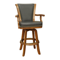 American Heritage - American Heritage Napoli Bar Stool in Chardonnay with Leather - A traditional classic , complete with decorative nail heads will compliment many decors. The comfortable seat cushion and armrest will have you relaxing with friends and family for hours.
