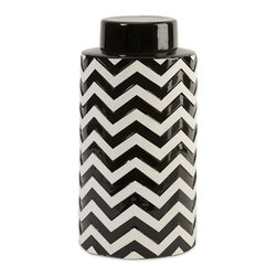 IMAX Worldwide Home - Chevron Large Canister with Lid - Material: 100% Ceramic. 12.25 in. H x 6.25 in. W x 6.25 in. . Weight: 6.73 lbs.The most popular twist on stripes covers this large lidded canister that looks great in a variety of spaces.