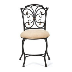 Sparta Vanity Stool - Show off your exquisite taste with the Sparta Vanity Stool. The lavish traditional design will make even your vanity jealous and with its sumptuous black gold finish you'll be blushing before you blush. Sit upon the supple beige faux suede cushion and take pride in your vanity. Its sturdy metal frame will ensure you many years of repeated use. This stool measures 17.5W x 16.5D x 32.25H inches. About Hillsdale FurnitureLocated in Louisville Ky. Hillsdale Furniture is a leader in top-quality affordable bedroom furniture. Since 1994 Hillsdale has combined the talents of nationally recognized designers and globally accredited factories to bring you furniture styling and design from around the globe. Hillsdale combines the best in finishes materials and designs to bring both beauty and value with every piece. The combination of top-quality metal wood stone and leather has given Hillsdale the reputation for leading-edge styling and concepts.