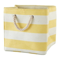Stripes Around the Cube Bin, Yellow - Kids' rooms can often get cluttered with all those toys and small trinkets lying around. This striped bin will hold it all and fit right into a bookcase.