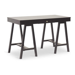 Baxton Studio - Baxton Studio Arvada Dark Brown Modern Desk - Much more than a glorified table, our Arvada Contemporary Desk is just the place to attend to bills, emails, or just browsing the web. Made in Malaysia with long, lean legs and a tabletop made of both solid rubberwood and engineered wood, this modern writing desk keeps it simple with a wide desktop and single drawer gliding smoothly on metal drawer slides to keep your workplace essentials close at hand. A rich shade of dark brown is applied to veneer, completing the look. Well-designed and easy to incorporate into any corner of your home, the Arvada Wooden Desk is packaged in a single cardboard carton and requires assembly after purchase. Keep your modern computer desk looking its best by wiping it clean with a dry cloth when needed.