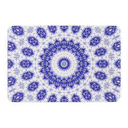 "KESS InHouse - Iris Lehnhardt ""M2"" Blue White Memory Foam Bath Mat (24"" x 36"") - These super absorbent bath mats will add comfort and style to your bathroom. These memory foam mats will feel like you are in a spa every time you step out of the shower. Available in two sizes, 17"" x 24"" and 24"" x 36"", with a .5"" thickness and non skid backing, these will fit every style of bathroom. Add comfort like never before in front of your vanity, sink, bathtub, shower or even laundry room. Machine wash cold, gentle cycle, tumble dry low or lay flat to dry. Printed on single side."