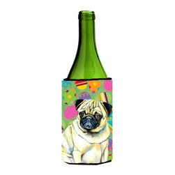 Caroline's Treasures - Pug Easter Eggtravaganza Wine Bottle Koozie Hugger - Pug Easter Eggtravaganza Wine Bottle Koozie Hugger Fits 750 ml. wine or other beverage bottles. Fits 24 oz. cans or pint bottles. Great collapsible koozie for large cans of beer, Energy Drinks or large Iced Tea beverages. Great to keep track of your beverage and add a bit of flair to a gathering. Wash the hugger in your washing machine. Design will not come off.