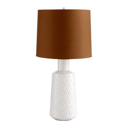 Cyan Design - Cyan Design Abbie Contemporary Table Lamp X-01250 - The white base of this Cyan Design contemporary table lamp is adorned with leaf details that help give it a unique retro yet modern appearance. From the Abbie Collection, the White Glaze finish pairs beautifully with the darker contrasting tone of the shade.