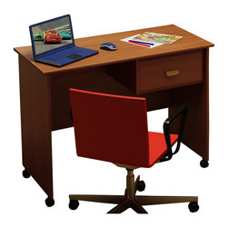 South Shore - South Shore Imagine Kids Wood Student Desk in Morgan Cherry Finish - South Shore - Kid Desks - 3576070 - The Imagine Student Desk is constructed of engineered wood products in a Morgan Cherry finish. It features one storage drawer to store all your kid's office supplies. It includes casters for easy mobility without damaging the floor. With a simple and space-saving design the Imagine Student Desk offers a lasting appeal your child will enjoy for many years.Your child's safety is the design philosophy behind the Imagine Collection by South Shore Furniture. Each piece of furniture has rounded shapes to provide maximum safety. This juvenile bedroom collection features a smaller scale with transitional design elements and an elegant Morgan Cherry finish. With a charming looks and a lasting appeal the South Shore Furniture Imagine Collection is sure to fit comfortably in your kid's bedroom.Features: