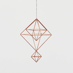 "Copper Himmeli No. 6 by Hruskaa - This geometric hanging mobile is called a ""himmeli,"" from the Swedish word ""himmel"" that means sky or heaven. I love its design and how it would look gently turning in the wind."
