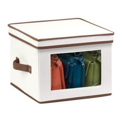 Honey Can Do - Natural Canvas Medium Window Storage Box - Clear view windows. Quickly identify items inside. Sturdy construction. Holds up to 25 lbs.. Includes dinnerware inserts. Protects 12 standard-sized dinner plates. 12 in. L x 12 in. W x 8.5 in. H (1.375 lbs.)Honey-Can-Do SFT-02063 Dinnerware Storage Box, Natural/Brown. Store up to 12 standard-sized dinner plates in this 12x12 inch storage box. The clear view window lets you easily see the contents while the lift off lid simplifies access. Protective inserts help safeguard against chips or scratches. Remove the dinnerware inserts and this storage box turns into a great closet organization tool. Store scarves, ties, socks, gloves, or hats. In classic off-white with brown accents, this stackable storage box will instantly upgrade any pantry or closet. Made of polyester and cotton canvas.