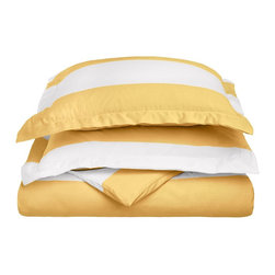 """600 Thread Count Full/Queen Duvet Set Cotton Rich Cabana Stripe - Mustard - Send yourself on a tropical vacation every night with this Cabana Inspired duvet cover set from Impressions. This design features stripes of white and the sets specified color and is made with a superior blend of materials that makes these duvets soft, easy to care for and wrinkle resistant. Set includes one duvet cover 90""""x92"""" and two pillow-shams 20""""x26"""" each."""