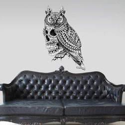 My Wonderful Walls - Great Horned Skull Wall Sticker Decal – Ornate Goth Art by BioWorkZ, Large - - Product: ornate black and white owl with skull wall sticker decal
