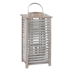 #N/A - Almonda (small) - Almonda (small). Light Wood And Galvanized Metal Lantern With Glass Candle Holder