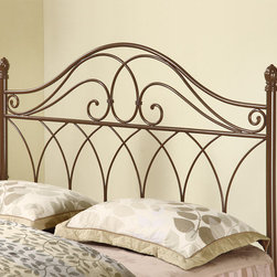 Coaster - Traditional Queen / Full Size Headboard in Rich Brown - Hand painted in a rich brown color, this gorgeously detailed metal headboard is a handsome addition to any bed in your home. Featuring ornamental elegant looping with a weave design, this headboard fits either a full or queen bed frame.