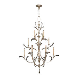Fine Art Lamps - Beveled Arcs Chandelier, 702040ST - This tiered chandelier in a warm, muted silver-leaf finish will make an elegant statement in your favorite formal setting. Arcing crystals seem to dance among the slender candles for a glorious, glowing effect.