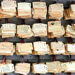 PrintedArt - Meji Shrine Messages Japan - Print is made with archival pigment inks for best color saturation and contrast with a 75-year guarantee against fading or discoloring. Mounted on light-weight but rigid aluminum dibond board to create a float-on-the-wall piece of art. Also available face-mounted with acrylic.