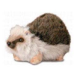 Hansa Toys - Hansa Baby Hedgehog - This cute Hansa Hedgehog is made from brown, white and beige plush. Baby Hedgehog has dark eyes and brown nose. Ages 3 and up. Handmade. Hansa Toys is known worldwide for their realistic, stuffed plush, life like creations and life size realistic animals.