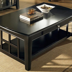 Steve Silver Co. - Cassidy Cocktail Table w Decorative Bars in Flat Black Finish - Square solid legs that curve outward at the bottom. Solid bottom shelf with wooden bars in a decorative design. Contemporary style. Skirt has a drawer in the front with a knob and a rolled rim. Beveled edge top. Multi-step Flat Black finish. Corner block construction. Tongue and groove joints. Select hardwood solids material. Some assembly required. 50 in. L x 30 in. W x 19 in. H (79.5 lbs.)