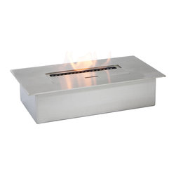 "Ignis - EB1400 Ethanol Fireplace Burner - This EB1400 Ethanol Fireplace Burner Insert can be inserted into an existing wood-burning fireplace to give you a clean, eco-friendly means for heating your space. You can also use this modern, sleek insert in a fireplace of your own design. It holds three full liters of fuel, and it burns for up to nine hours, so you can stay warm and toasty all day long, all season long. This 6,000-BTU unit is ventless, so you don't need a chimney, electric lines, or gas lines to use it, and it can be operated with little or even no maintenance for a long time. For your convenience, it comes with a damper tool. Dimensions: 13.1"" x 7.25"" x 3.25"". Features: Ventless - no chimney, no gas or electric lines required. Easy or no maintenance required. Capacity: 3 Liters. Approximate burn time - 9 hours per refill. Approximate BTU output - 6000."