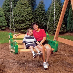 PlayStar Playsets Contoured Leisure Swing - Ahhhhh, nothing like a lazy summer bench swing at dusk. Add the PlayStar Contoured Leisure Swing to your swing set for cozy, easy relaxing with a storybook. This kit includes two double-wall brackets to make a swing, and the chains and hardware to hang it. Use your own lumber or order it separately.About PlayStarPlayStar was started in the Heartland of America, in the garage of an entrepreneur with this dream: to build a foundation of people who were hardworking, friendly, professional and self-motivated to do the right thing, to offer the ultimate customer service and provide the highest value, best quality and most innovative products. All PlayStar Playsets are designed following company safety standards that exceed government guidelines, to enhance your child's physical development and social skills.