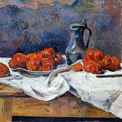 """Paul Gauguin Tomatoes and a Pewter Tankard on a Table   Print - 16"""" x 20"""" Paul Gauguin Tomatoes and a Pewter Tankard on a Table premium archival print reproduced to meet museum quality standards. Our museum quality archival prints are produced using high-precision print technology for a more accurate reproduction printed on high quality, heavyweight matte presentation paper with fade-resistant, archival inks. Our progressive business model allows us to offer works of art to you at the best wholesale pricing, significantly less than art gallery prices, affordable to all. This line of artwork is produced with extra white border space (if you choose to have it framed, for your framer to work with to frame properly or utilize a larger mat and/or frame).  We present a comprehensive collection of exceptional art reproductions byPaul Gauguin."""