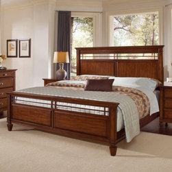 Randolph Park Panel Bed Set - The Randolph Park Panel Bed Set is a beautiful way to make a statement in your bedroom. A dark smoky cherry finish is complemented by rectangle-shaped detailing, including intricately carved detailing on the headboard. You can choose your size with this bed, and whether you'd like the complete bed (headboard, frame, footboard), the headboard and frame, or just the headboard.Headboard Dimensions:Queen: 65.25W x 3.5D x 60H inchesKing: 85.75W x 3.5D x 60H inchesComplete Bed Dimensions:Queen: 65.25W x 91.5D x 60H inchesKing: 82.75W x 91.5D x 60H inchesThe Randolph Park Bed is beautiful, and so are the matching collection pieces. Choose from the following optional bedroom furniture pieces: one or two nightstands, a chest, and a dresser with mirror. The nightstands each have three drawers, the chest has five drawers, and the dresser has nine drawers. All items are crafted from poplar solids with cherry veneers, and finished in a smoky cherry color. The matching landscape mirror features beveled glass with matching detailing at the top.Bedroom Furniture Dimensions:Nightstand: 28W x 18D x 30H inchesChest: 39W x 19D x 53H inchesDresser: 66W x 19D x 40H inchesMirror: 41W x 2D x 42.5H inchesAbout Wynwood FurnitureAt Wynwood, designing unique and useful furniture is the goal. The company's own fashion consultants scour the globe for distinctive woods and eye-catching designs before bringing their findings back home to talented designers who set about creating beautiful pieces. The designs are then moved into production, where Wynwood specializes in ensuring all collections are both stunning and useful, giving every piece a thorough going-over that results in inimitable style, impeccable construction, and unequaled functionality.