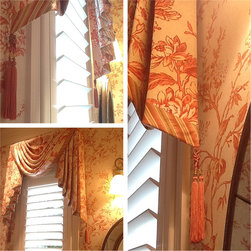 Sketches/ drawing/ floor plans/ boards/ etc - Pretty window treatments details. Traditional style. Matching fabric and wallpaper in the powder room.