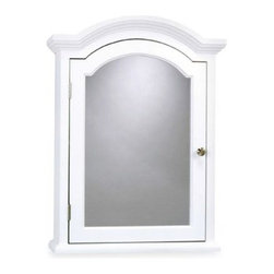 Zenith Products Corporation - Arch Crown Molding White Medicine Cabinet - This traditional white finish medicine cabinet features polished chrome hardware and arched crown detail at the top. All wood body with two fixed shelves provide plenty of storage space.