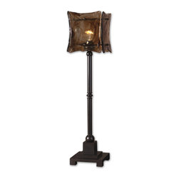 Uttermost - Oil Rubbed Bronze Metal Lamp With Square Glass Shade - Oil Rubbed Bronze Metal Lamp With Square Glass Shade
