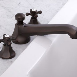 Cole Roman Tub Faucet, Antique Bronze finish - Our Cole Sink Faucet is known for its solid construction and clean profile. We've now added coordinating roman faucets to complete the collection. Crafted of brass, with a smooth rust-resistant finish. Rounded cross-hatch handles with vintage-style Hot and Cold lettering. Set includes tub faucet and handles. See available finishes below. Professional installation required. {{link path='pages/popups/sink_cole_roman_popup.html' class='popup' width='720' height='800'}}Learn more{{/link}} about how to install this tub set. View our {{link path='pages/popups/fb-bath.html' class='popup' width='480' height='300'}}Furniture Brochure{{/link}}.