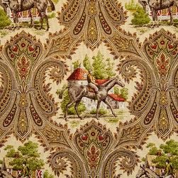 Horse fabric jockey brown paisley toile - A horse jockey fabric. A horse riding toile paisley fabric.
