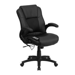 Flash Furniture - Flash Furniture Massaging Leather Executive Office Chair in Black - Flash Furniture - Office Chairs - BT2536P1GG - Enjoy a relaxing massage in the comfort of your own office or home with this incredibly comfortable Massaging Executive Office Chair by Flash Furniture. The included remote has a variable slider intensity mode to get to your desired comfort level and has a designated side pocket when not in use. Chair features a mid-back contemporary design with leather upholstery and mesh insets in the seat and back. Get the most out of your next office chair with this Overstuffed Padded Executive Chair with included Massage feature.