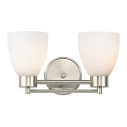 Design Classics Lighting - Modern Bathroom Light with White Glass in Satin Nickel Finish - 702-09 GL1028MB - Contemporary / modern satin nickel 2-light bathroom light. Takes (2) 100-watt incandescent A19 bulb(s). Bulb(s) sold separately. UL listed. Damp location rated.