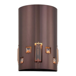 Kovacs - Kovacs P1080-631 Bling Bang 1 Light Wall Sconce - Kovacs P1080-631 Single Light Bling Bang Wall SconceWith a 100 watt medium socket housed within a unique Chocolate Chrome housing featuring shimmering crystal accents, this fixture will provide ample light and ample style in any room. A sleek modern look pervades this half cylinder shaped wall washer wall sconce, making it an elegant addition to any room. Kovacs P1080-631 Features: