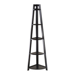 Winsome Wood - Winsome Wood 20527 Adam 5-Tier A-Frame Corner Shelf in Black - Shelf 1