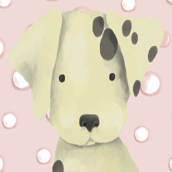 Oopsy Daisy - Radley the Dalmatian in Powder Pink Canvas Wall Art - Radley the Dalmatian in Powder Pink Canvas Reproduction