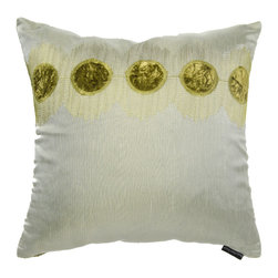 Brandi Renee Designs - Green Sheer Spotted Velvet Pillow - Add a light pop of color to your interior with this charming accent cushion. The lush polyfill insert makes it a great addition to any lounge or sitting area. It's dressed in a sheer green fabric with large green dots lining the top along with velvet square backing.