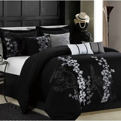 Chic Home Gazebo Embroidered Comforter Set - Black - King