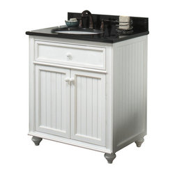 "Sagehill Designs - Sagehill Designs CR3021 Antique White Cottage Retreat 30"" Vanity - Product Features:This model is a cabinet / base only - vanity top and sink are not includedConstructed of hardwood providing durability and aesthetic appealFeatures a full-sized cabinet with matching door providing ample storage spaceVanity is crated and shipped fully assembledSolid construction and assembly provides years of reliable performanceProduct Specifications:Overall Height: 34"" (measured from ground level to highest point on vanity)Overall Width: 30"" (measured from left most to right most part on vanity)Overall Depth: 21"" (measured from back most to front most part on vanity)Mounting Style: FreestandingNumber of Drawers: 0Number of Doors: 2Number of Shelves: 0Configuration: Vanity base only - top and sink will need to be ordered separately"