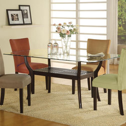 5 PC Wood Dining Set Glass Top Table Parson Chairs Microfiber Seat - This beautiful parson style dining side chair will be a lovely addition to your contemporary dining room. The high sleek curved chair back and plush padded seat is covered in a soft and durable microfiber fabric, available in five colors to complement your decor. Chocolate, gold ochre, terracotta, taupe, or light green upholstery sits above square tapered legs in a rich dark cappuccino finish.