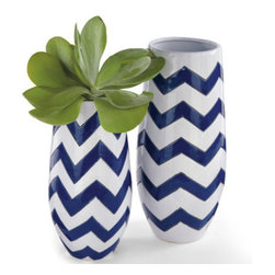 "Grandin Road - Zig Zag Ceramic Vases - 15""H - Use as a centerpiece or display on a shelf. 100% ceramic. Hand-enameled chevron finish. Dressed in a classic navy-and-white chevron pattern, our timeless and tremendous Zig Zag Ceramic Vases will make quite a statement. At this scale, you'lll be pressed to settle on just one.  .  .  ."