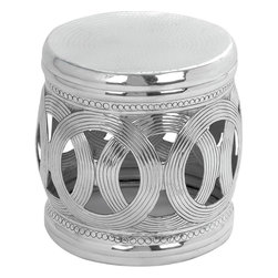 Benzara - Aluminium Stool with Interconnected Ring Patterns - Flaunting a chic and urbane design, this Aluminum Stool 16 in. H, 16 in. W lends a touch of urbane finesse to staid home settings. This chic-looking stool features a unique design and flaunts a stunning pattern of interconnected rings at the center. The elegant stool has a smooth, slick finish, which elevates the design aesthetics by several notches. Featuring a minimalistic design, this stool has polished rounded edges, which give a stunning contrast to the stylish detailing. With its sturdy, solid design, this durable stool is an ultra-modern way to enhance your seating area. It is suitable for both indoor and outdoor use, bringing style and elegance whichever place it is kept. Carefully crafted from premium grade aluminum, this stool promises durability and offers rust-free usage for years to come..