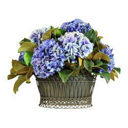 Jane Seymour Botanicals - Hydrangea Basket - Handsome hydrangeas are the main feature of this pleasing permanent floral display. Set in an antique, green-toned wire mesh basket, this attractive arrangement is both incredibly lifelike and completely maintenance-free. It will make a cheerful addition to any room in your home.