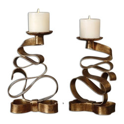 Matthew Williams - Matthew Williams Pazia Gold Metal Candle Holder X-35891 - Twisted metal in a bright gold finish. Distressed beige candles included.