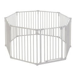 """North States - North States 3 in 1 Metal Superyard / Extra Wide Gate - The North States 3-in-1 Metal Superyard offers multiple uses for children and pets. The Superyard consists of six high quality panels that can be configured as a barrier around dangerous objects including fireplaces and grills, as a room divider, or a barricade to spaces where little ones shouldn?t venture, in addition to its traditional use as a play yard. At 30? high, this kit includes a swinging gate that locks to keep kids out but is also quite adult friendly. The Superyard offers 10 square feet of enclosed space. Works well on a variety of floor surfaces and includes rubber feet to prevent movement and damage. Simple installation, takedown, and storage. Indoor and outdoor compatible. 144"""" wide when used as a divider. Included hardware for permanent wall mounting. Double panel extension allows for expansion. 4931 for 19 Sq. Ft. Traditional taupe finish."""