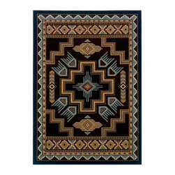 """United Weavers - Southwestern/Lodge Contours-Cem 1'10""""x2'8"""" Rectangle Smoke blue Area Rug - The Contours-Cem area rug Collection offers an affordable assortment of Southwestern/Lodge stylings. Contours-Cem features a blend of natural Smoke blue color. Machine Made of Olefin the Contours-Cem Collection is an intriguing compliment to any decor."""