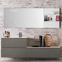 Artelinea - Artelinea | Domino44 AL-342 Vanity Set - Made in Italy by Artelinea.The Domino44 AL-342 Vanity Set is the perfect addition to larger bathrooms in need of modern appeal and functionality. The generously sized vanity comes with two fully extendable drawers directly beneath the sink, an additional large pull out drawer for extra storage, an extra large LED lit mirror, and a glass shelving component to display décor. Together this all-inclusive set provides quality storage and organization elements that will withstand the test of time. Product Features: