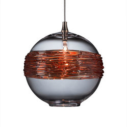 Shakuff - Saturn Glass Pendant Light - Saturn and her rings have never looked so good!  This clear spherical pendant is made from handblown glass and dramatically wrapped with gilded rings. Hang multiple orbs to create a stunning otherworldly effect.