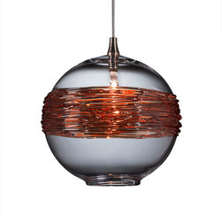 Shakuff - Saturn Glass Pendant Light, Clear with Gold Ring - Saturn and her rings have never looked so good!  This clear spherical pendant is made from handblown glass and dramatically wrapped with gilded rings. Hang multiple orbs to create a stunning otherworldly effect.