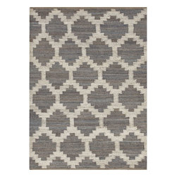 Jaipur Rugs - Jaipur Rugs Naturals Moroccan Pattern Hemp Gray/Ivory Area Rug, 2 x 3ft - Simple patterns in two color combinations are used to create this collection of chunky woven jute rugs. Hardy and durable these fringed rug enhance both rustic and modern home environments.